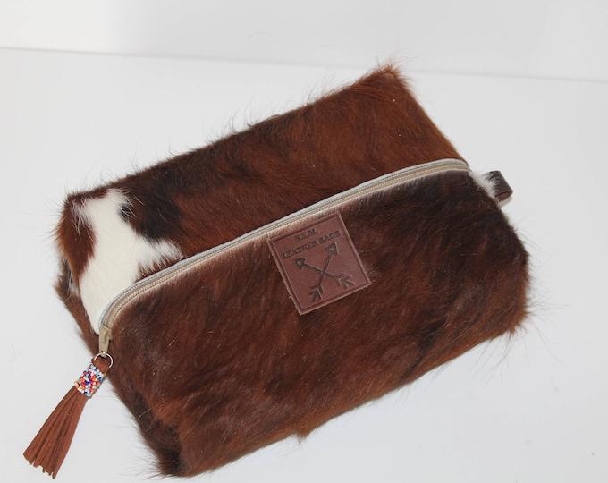 Comestic Bag in Long Hair Cowhide