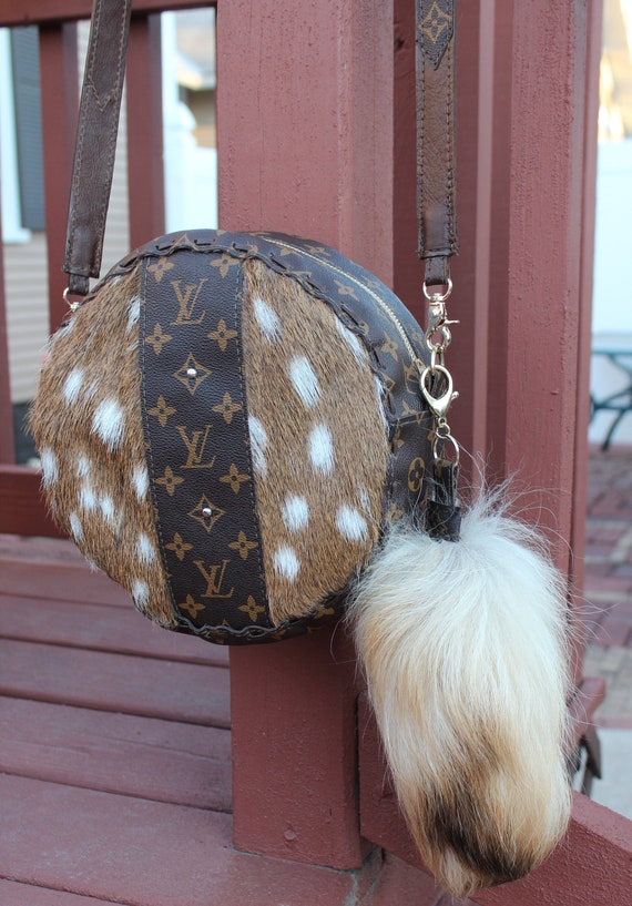 Axis Deer Hide Round Crossbody Purse with Fox Tail key ring