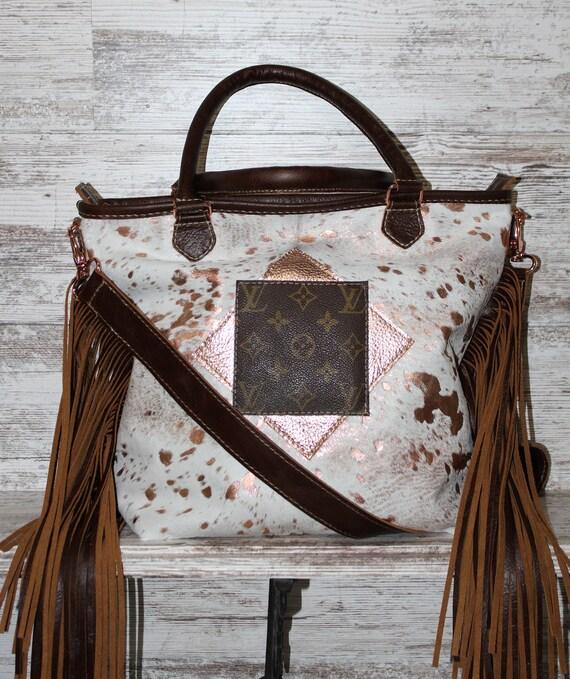 Rose Gold Acid Wash Cowhide Shoulder Bag