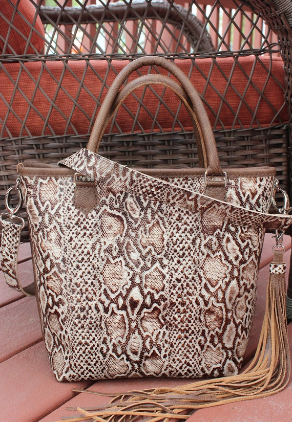 Python Print Leather Ladies Shoulder Bag