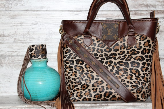 Cowhide with Leopard Print and Italian Leather Purse... Free bracelet with purchase