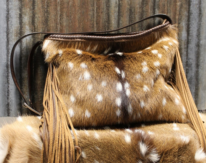 Axis Deer Hide and Italian Leather Shoulder Bag with long fringe