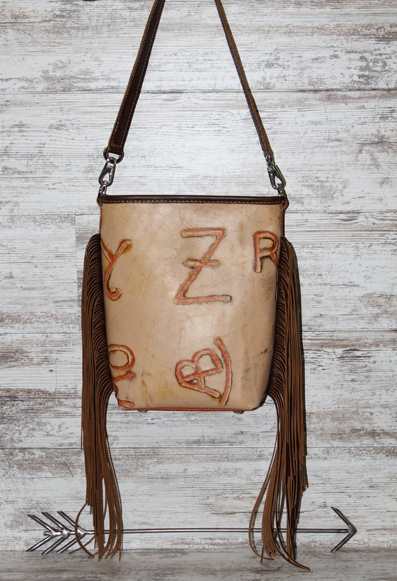 Cattle Brands on Vintage Leather with Fringe Crossbody Purse
