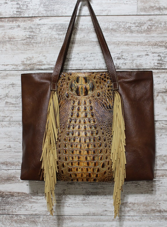 Crocodile  Embossed Leather Tote with Fringe