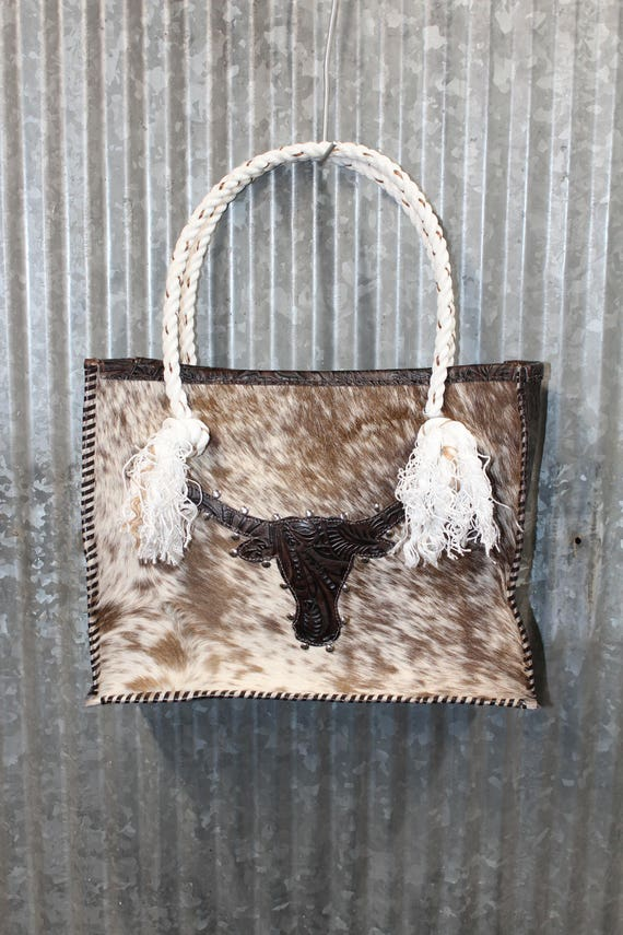 Cowhide and Longhorn Bull with Lariat Rope Handles Purse