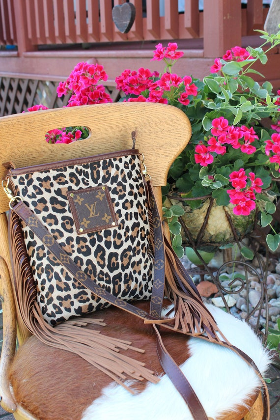 Cowhide Crossbody in Leopard Print with Repurposed Louis Vuitton