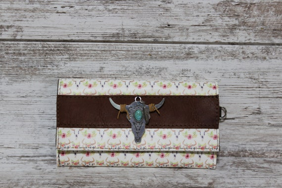 Leather Wallet with BoHo Cow Skulls
