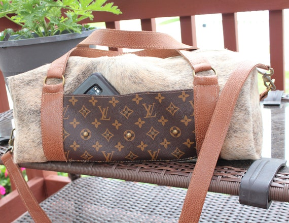 Duffle Bag in Gray Brindle Exotic Cowhide with Italian Leather Trim