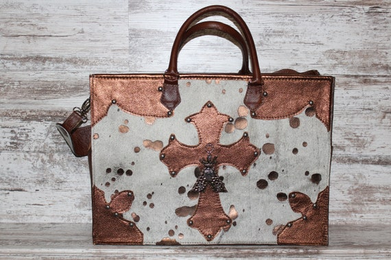 Diaper Bag in Copper Acid Wash Cowhide with Copper Metallic Leather Trim