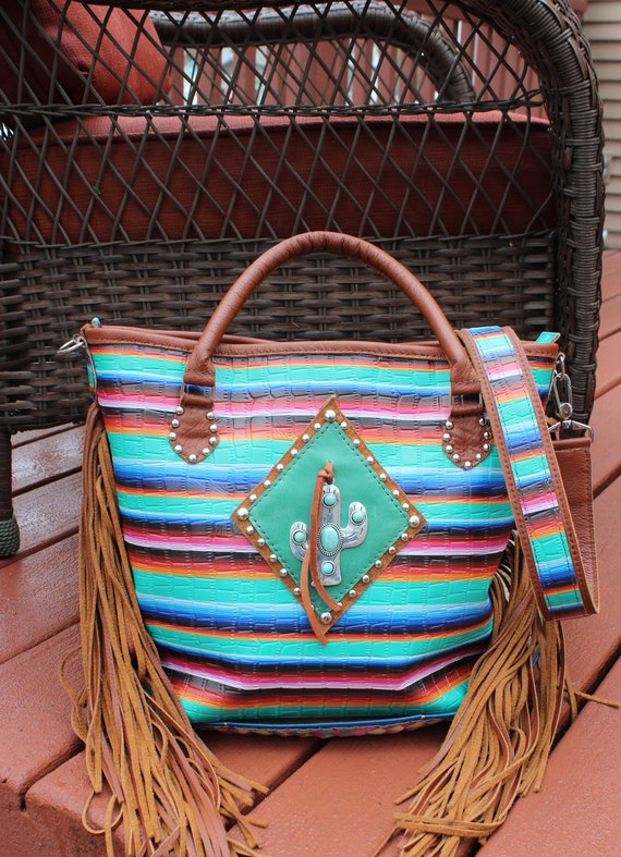 Serape Print on Leather with Italian Leather Purse