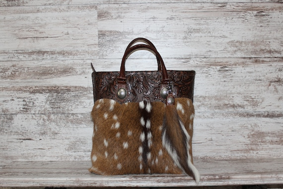 Axis Deer Hide with Western Tooled Leather Trim