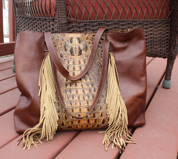 Italian Leather with Crocodile Embossed Leather Tote