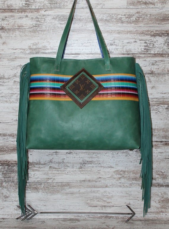 Turquoise Leather with Serape Print Leather Travel Tote