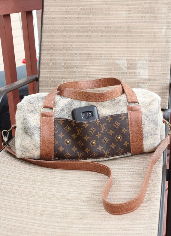 Duffle Bag in Grey Brindle Exotic Cowhide with Italian Leather Trim