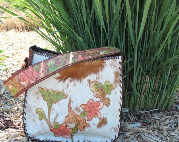 Cowhide Shoulder Bag with Hand Painted Leather Flowers The Desert Rose