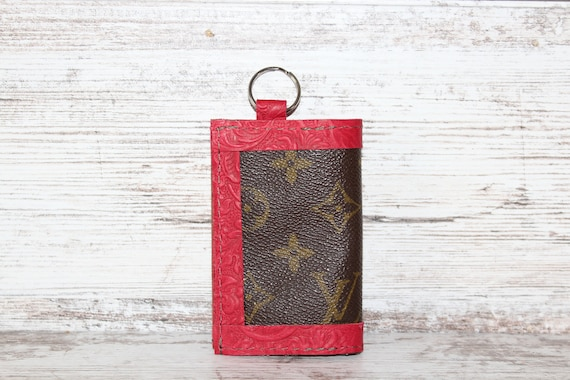 Key Ring or Credit Card holder in Red Tooled Leather with Repurposed LV