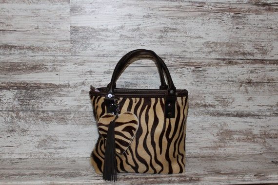Cowhide with Baby Zebra Strips Purse