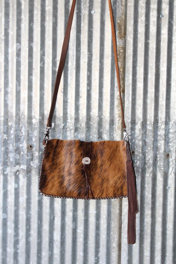 Cross Body in Brindle Cowhide with tassels