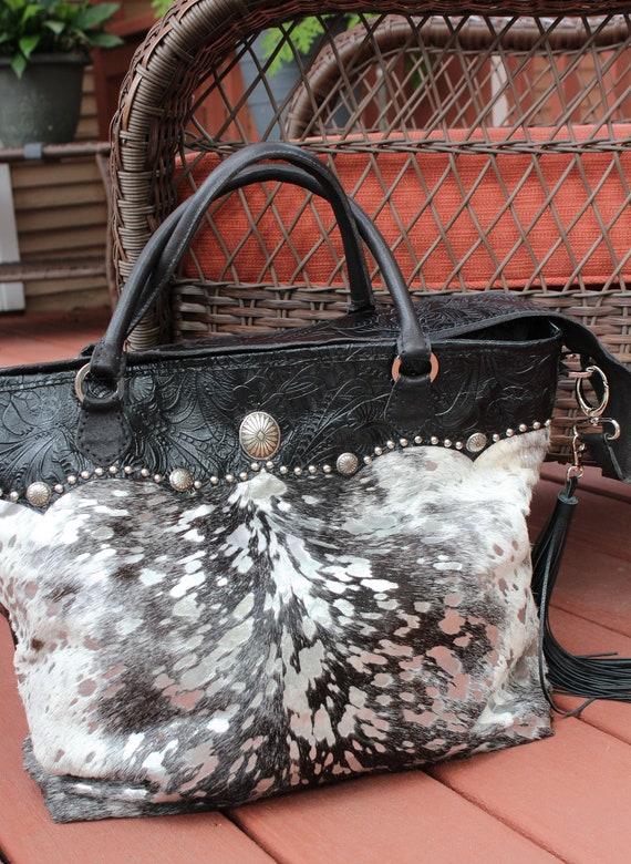 Diaper bag or Business Bag Acid Wash Silver Metallic Calf Hide and Floral Embossed Black Leather