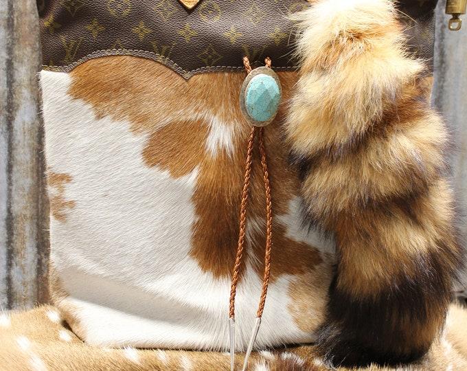 Cowhide with Authentic Vintage Louis Vuitton trim Travel Satchel