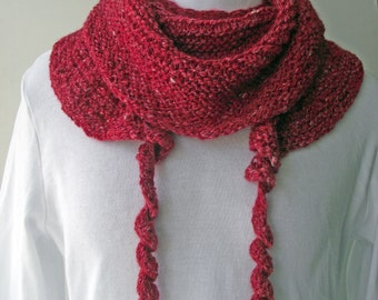 50% OFF! Red Knit Scarf, Red Shawlette, Handspun Knitted Scarf, Red Merino and Silk Scarf, Curly Red Neckwarmer