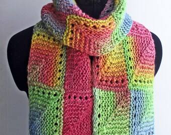 Rainbow Scarf, Handspun Knitted Multicolour Scarf or Wrap made from Handdyed Merino & Soya Bean fibre
