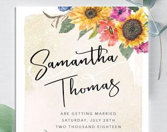 Watercolor Sunflower Wedding Invitation