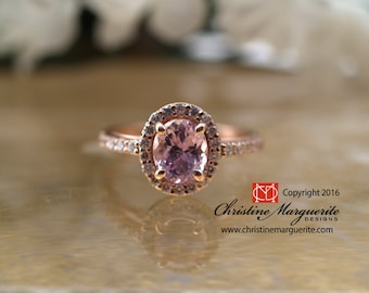 Pink Oval Natural Sapphire Rose Gold Diamond Halo Ring