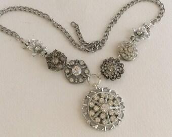 Rhinestone Wedding Necklace, Silver tone, Rhinestone Pendant, Statement, Assemblage necklace, Reclaimed Vintage Jewelry, OOAK