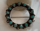 Turquoise Wreath Brooch Sterling Silver Circle Pin
