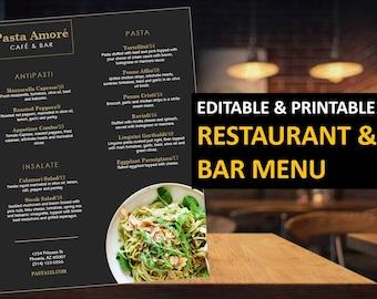 Restaurant Menu Flyer Template   Food Menu Flyer Template   Printable Restaurant flyer   MS Powerpoint   Instant download