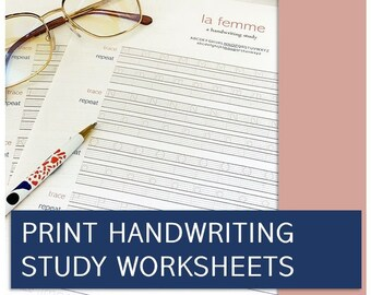 """Printable Handwriting Worksheets """"La Femme"""" (A4-9Pages) Uppercase, Lowercase, Number & Stroke practice   English Handwriting Practice sheets"""