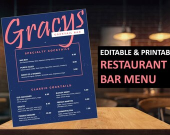 Bar Cocktail Menu Flyer Template   Food Menu Flyer Template   Printable Restaurant flyer   MS Powerpoint   Instant download