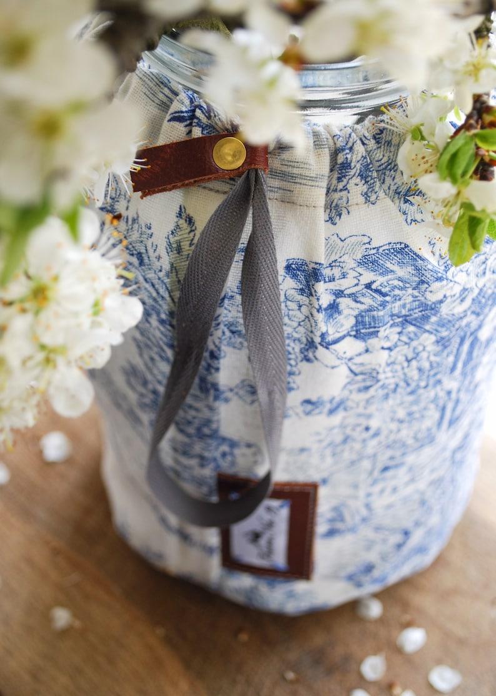 Fabric Jar Cover Blue and White Drawstring Bag Drawstring Toile de Jouy Vase Toile de Jouy Fabric Vase Cover Drawstring Vase Cover