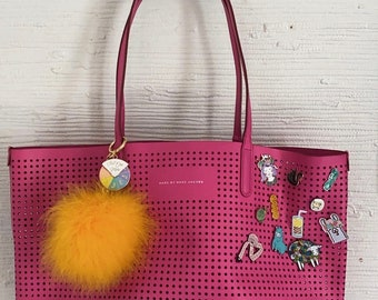 Pink Leather Knitting Tote w/pins!