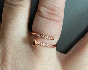 Rose Gold Knitting Needle Ring