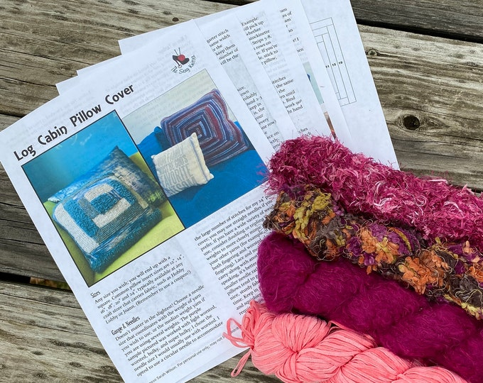 Featured listing image: Knit Pillow Cover Pattern & Yarn Pack 15