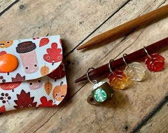 Fall Leaves & Starbucks Coffee Stitch Markers in Vinyl Pouch,