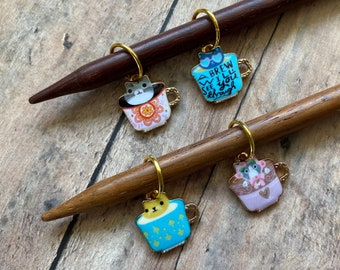 Cats in Teacups Stitch Marker Set, 4 knitting markers for your knit project bag