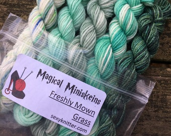Hand Dyed Yarn Mini Skein Set - Harry Potter Yarn - Freshly Mown Grass - 25 yard skeins for Harry Potter lovers