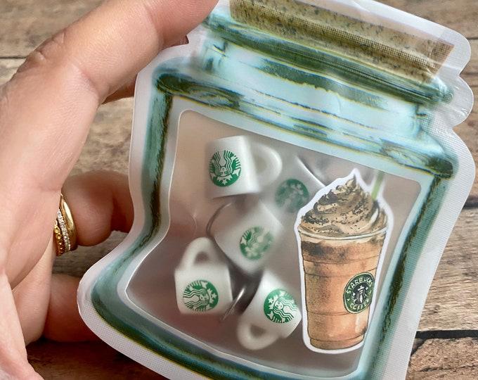 Featured listing image: Starbucks Mug Stitch Markers, coffee knitting marker set