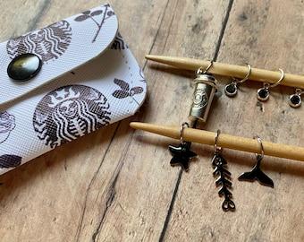 Starbucks Pirate Mermaid Stitch Markers in Vinyl Pouch, coffee knit marker set