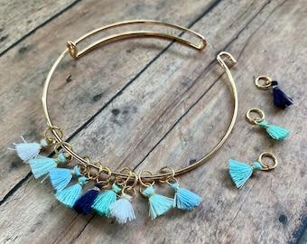 Stitch Marker Bracelet - Blue Tassels