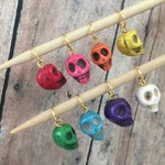 Colorful Skull Stitch Markers - Set of 8 for your knitting project