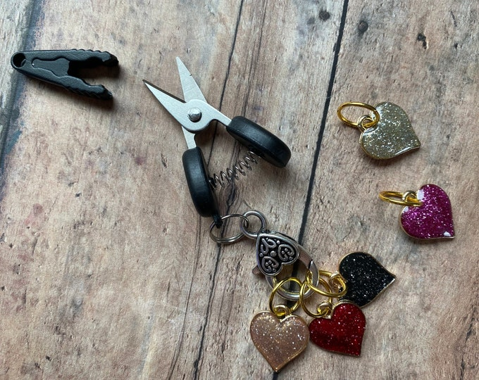 Featured listing image: Valentine's Day Scissor/Stitch Marker Set