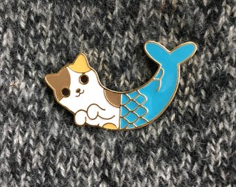 Enamel Pin - Mermaid Cat