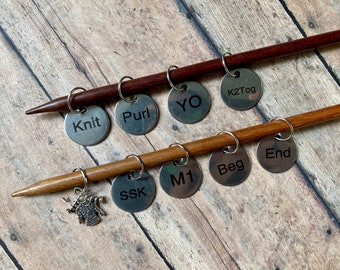 Stitch Marker Set, Knitting Terms, K1, YO, K2tog