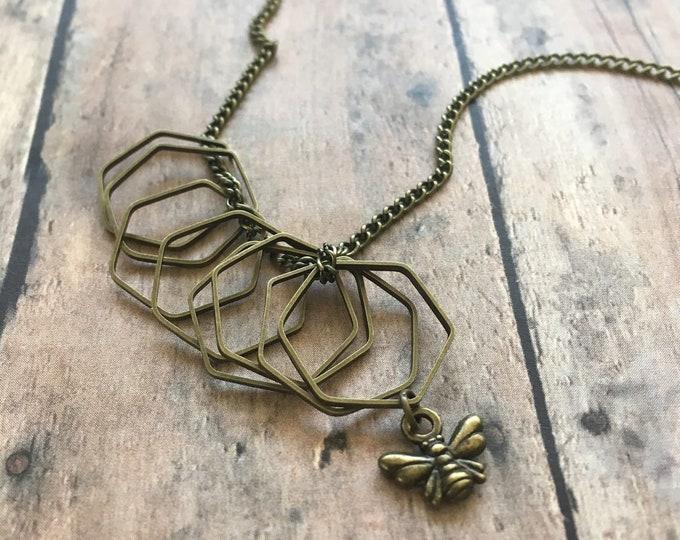 Featured listing image: Hexagon & Honeybee Stitch Marker Necklace