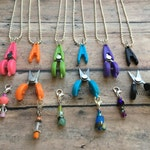 Scissor/Stitch Marker Necklace - Removable knitting marker & travel plane embroidery snips/thread cutter