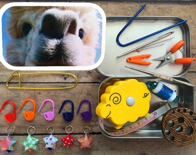 Featured listing image: Travel Knit Kit   Knitting Notions Box   Alpaca Closeup